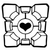 Portal Companion Cube Abstract Outline
